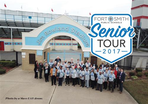 Photo of Fort Smith Public Schools Senior Tour group 2017. Photo taken by a Mavs UAV drone.