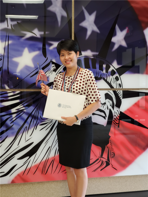 Ha Tran from Spradling Family Literacy receiving her citizenship.