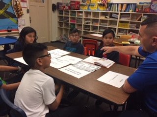EL students in small group instruction with EL paraprofessional.