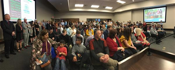 Photo of standing room only crowd at March 26, 2018, school board meeting