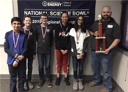 science bowl team with their trophy