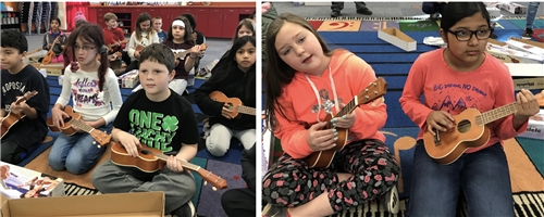students play ukulele